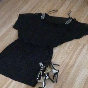 Dresses & Skirts - Cute Beaded cold shoulder dress size 12